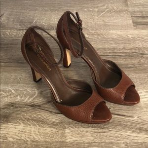 Banana Republic Brown Leather Ankle Strap Heels
